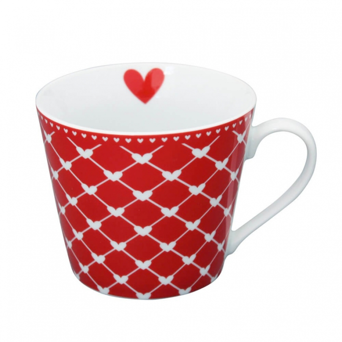 Krasilnikoff Happy Cup Hearts diagonal red