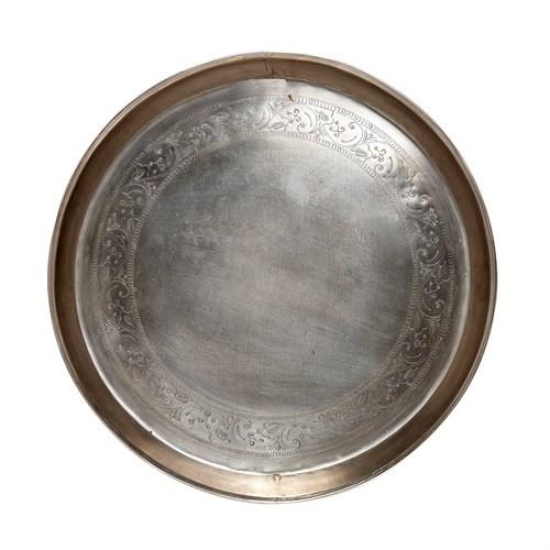 tablett mit pr gung rund antik metall mittel kaufen bei. Black Bedroom Furniture Sets. Home Design Ideas
