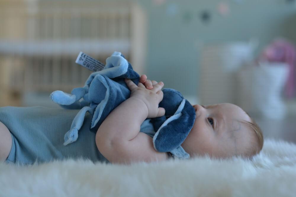 Baby My Teddy Kuscheltuch Schmusetuch Schnullerhalter Hase Rund Grau 28 Cm Spielzeug